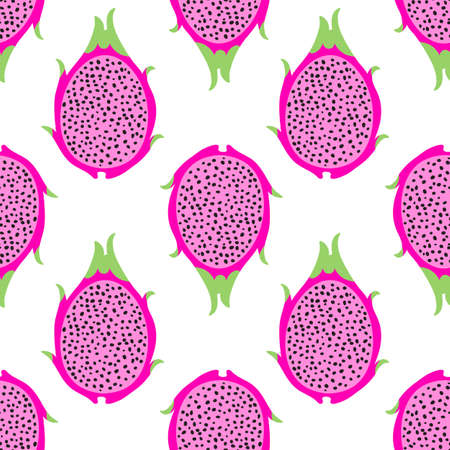 Tropical exotic dragon fruit vector seamless pattern. Background with pitaya for design fabric