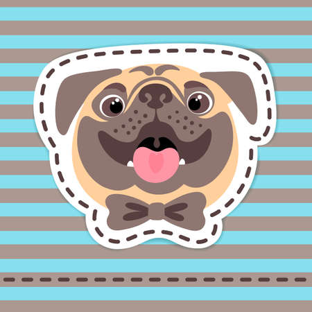 Fashion patch badges happy pug in bow tie.