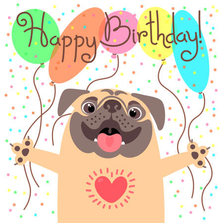 Cute happy birthday card with funny puppy.