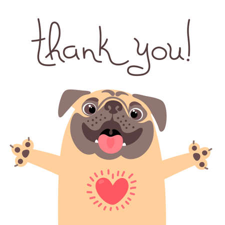 Cute dog says thank you.