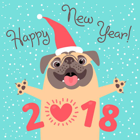 Happy 2018 New Year card. Funny pug congratulates on holiday. Dog Chinese zodiac symbol of the year.