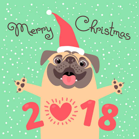 Merry Christmas 2018 card with dog. Funny pug congratulates on the holiday. Colored postcard in the cartoon style.