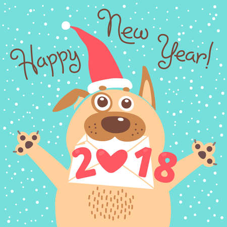 Happy 2018 New Year card. Funny puppy congratulates on holiday. Dog Chinese zodiac symbol of the year.