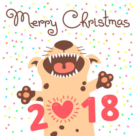 Merry Christmas 2018 card with dog. Funny puppy congratulates on holiday. Colored postcard in the cartoon style.