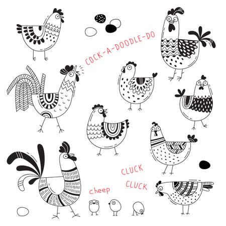 鶏, 鶏, コック, 漫画のスタイルで卵のベクター画像ラインアートします。食品パッケージ、広告バナー、カード デザインの要素をカバーします。