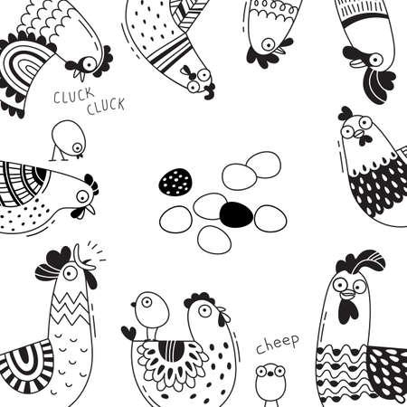 製品、広告バナー、面白い鶏、鶏、鶏、卵状の包装をカバーします。漫画のスタイル、ライン アートのベクトル図です。