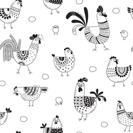 鶏、鶏、漫画のスタイル、ライン アートで卵のシームレスなパターン。デザイン カバー製品包装、広告バナー、カードの背景。