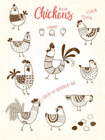 鶏、鶏、コック、漫画のスタイルで卵のベクター画像ラインアートします。食品パッケージ、広告バナー、カード デザインの要素をカバーします。