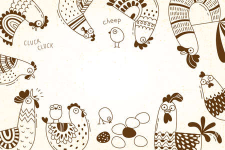 Cover for packaging of products, advertising banner, card with funny chickens, hens, roosters, eggs.