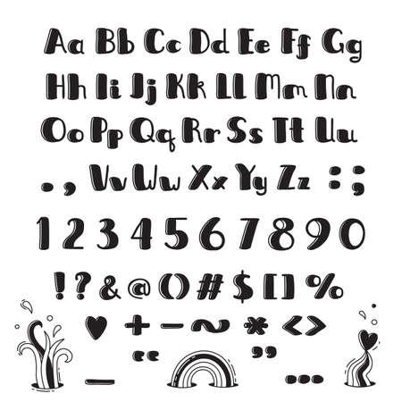 手描きのアルファベット。大文字、小文字、数字および記号の楽しい漫画のスタイル。ベクトル図  イラスト・ベクター素材