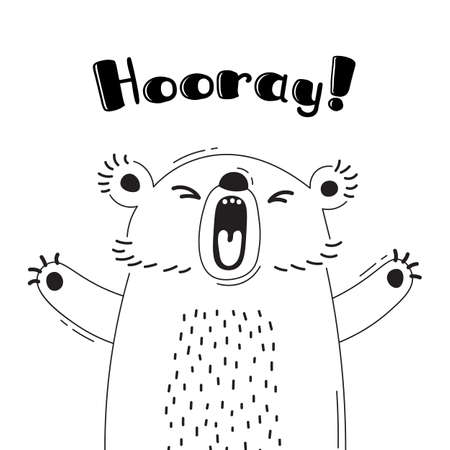 Illustration with joyful bear who shouts - Hooray. For design of funny avatars, welcome posters and cards. Cute animal in vector.