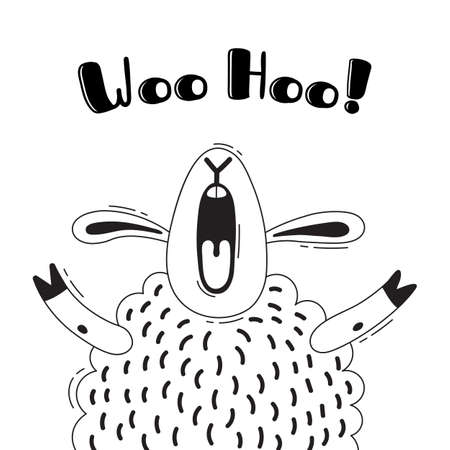 Illustration with joyful sheep who shouts - Woo Hoo. For design of funny avatars, welcome posters and cards. Cute animal in vector.