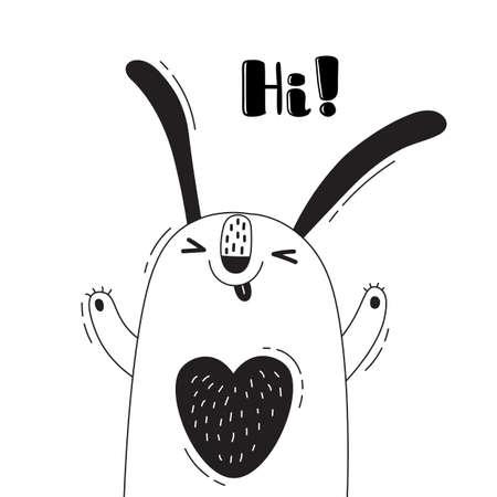 Illustratie met vreugdevolle konijn die schreeuwt - Hallo. Voor het ontwerpen van grappige avatars, welkomstaffiches en kaarten. Leuk dier.
