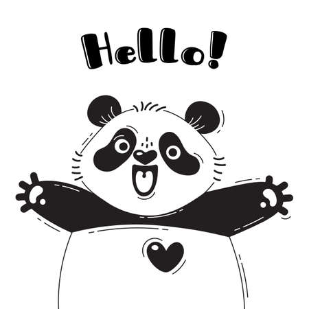 Illustration with joyful panda who shouts - Hello. For design of funny avatars, welcome posters and cards. Cute animal.