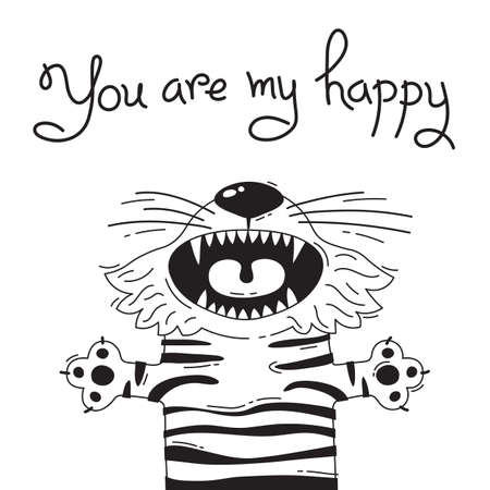 Illustration with joyful tiger who says - You are my happy. For design of funny avatars, posters and cards. Cute animal. Ilustração