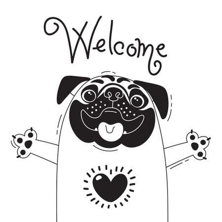 Ilustración con pug alegre que dice: Bienvenido. Para el diseño de avatares divertidos, carteles y tarjetas. Lindo animal
