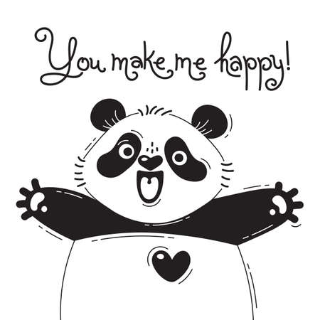 Illustration with joyful panda who says - You make me happy. For design of funny avatars, posters and cards. Cute animal.