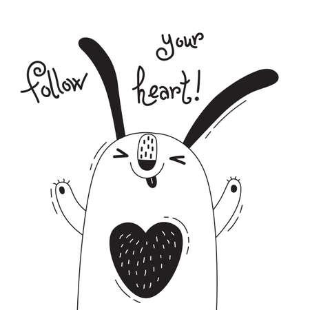 Who - うれしそうなウサギと図あなたの心に従ってください。面白いアバターやポスター、カードのデザイン。かわいい動物。