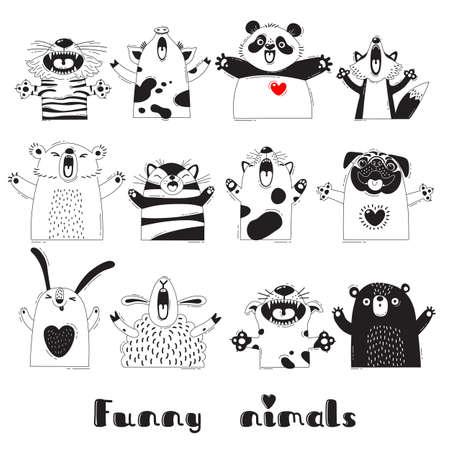 Animali divertenti Tigre Pig Bear Fox Pecora Cat Pug Panda Rabbit per la progettazione di feste, sale, adesivi, poster, t-shirt per bambini Archivio Fotografico - 83602961