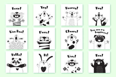 Cards with funny animals and exclamations. Tiger Pig Bear Fox Sheep Cat Pug Panda Rabbit for the design of childrens parties, rooms, stickers, posters, t-shirts. Vector illustration