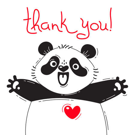 baby announcement card: Illustration with joyful panda who says - thank you. For design of funny avatars, posters and cards. Cute animal.