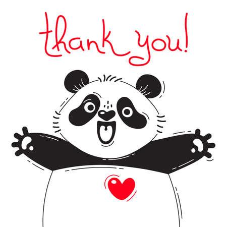 Ilustracja z radosną pandą, która mówi - dziękuję. Do projektowania zabawnych awatarów, plakatów i kart. Śliczne zwierzę.