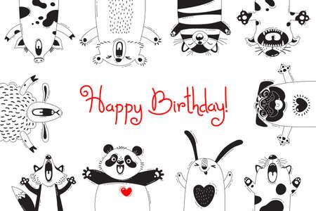 Verjaardagskaart Met Grappige Dieren Varken Beren Varken Schapen Kat Pug Panda Konijn Stock Illustratie