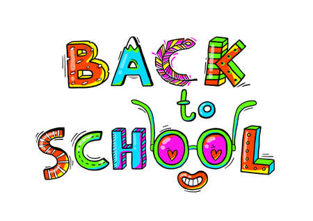 Back to School hand drawn words in a fun cartoon style.Vector illustration  イラスト・ベクター素材