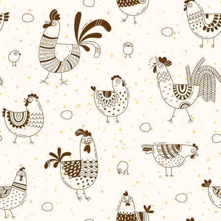 鶏、鶏、漫画のスタイル、ライン アートで卵のシームレスなパターン。デザイン カバー製品包装、広告バナー、カードの背景