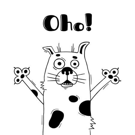 Illustration with dog who shouts - Oho. For design of funny avatars, welcome posters and cards. Cute animal.