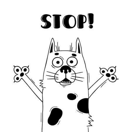 Illustration with funny hound who shouts - Stop. For design of warning beware of dog. Illustration
