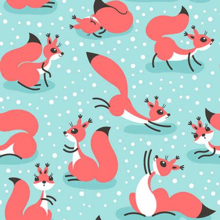Kleine schattige eekhoorns onder sneeuwval. Naadloze winter patroon voor geschenkverpakking, behang, kinderkamer of kleding. Stock Illustratie