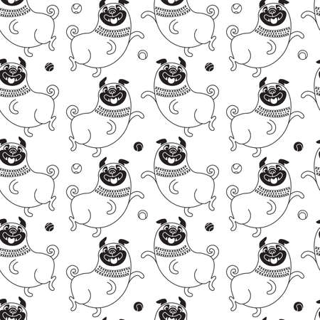 Funny pugs seamless pattern. Vector background with a joyful dog for design. Standard-Bild - 91244047