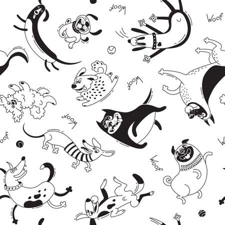 Playing dogs seamless pattern. Funny lap-dog, happy pug, mongrels and other breeds. Vector background for design. Illustration