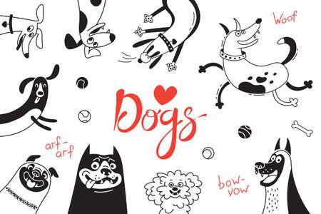 즐거운 개와 행복 한 강아지 카드입니다.