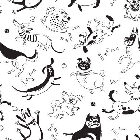 Playing dogs seamless pattern. Funny lap-dog, happy pug, mongrels and other breeds. Vector background for design Stock Vector - 92354192