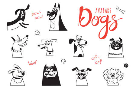 Funny lap-dog, happy pug, cheerful mongrels and other breeds. Vector illustration.