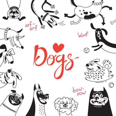 Card with joyful dogs and happy puppies.