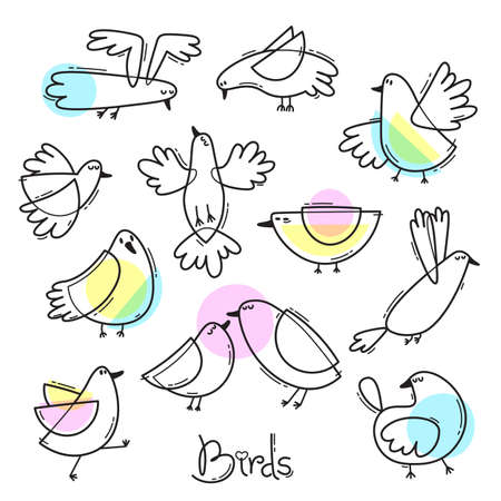 Set variety of abstract birds. Simple line design. Vector illustration.
