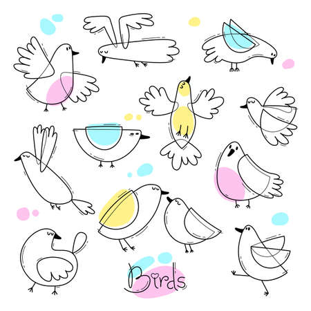 Set variety of abstract birds. Simple line design vector illustration. Illustration