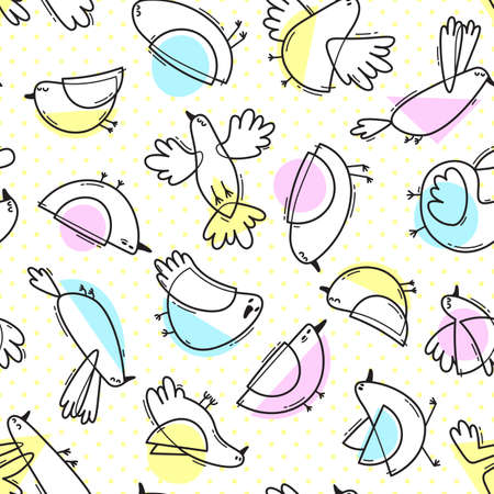 Seamless pattern with abstract cute birds. Simple line design. Gentle colors. Vector background