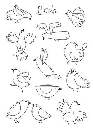 Set variety of abstract birds. Simple line design. Coloring book page. Vector illustration.