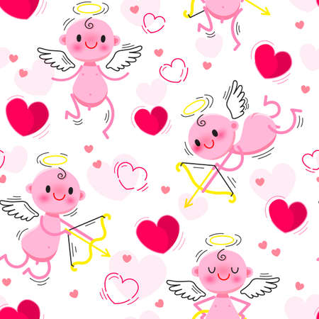 Wedding and Valentines Day day seamless texture with lovely cupids and hearts. Vector illustration Illusztráció