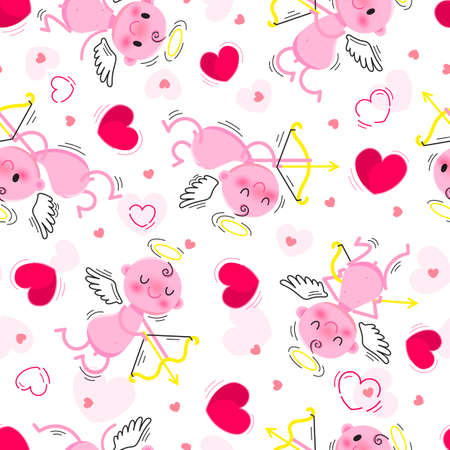 Wedding and Valentines Day day seamless texture with lovely cupids and hearts. Vector illustration.