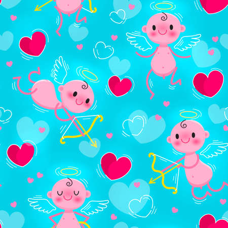Wedding and Valentines day seamless texture with lovely cupids and hearts vector illustration. Illusztráció