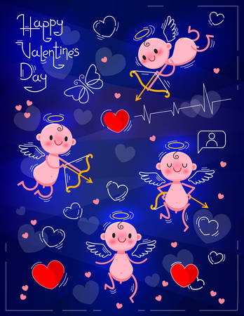 Set Wedding and Valentines Day design elements. Little cute cupids on dark neon background. Vector illustration Ilustrace