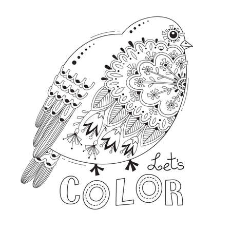 Bird with patterns and flowers. Coloring book page. Vector illustration