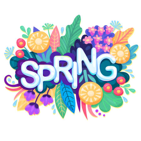 Fresh Spring Background with Colorful Flowers for Springtime Graphic Design. Stock Illustratie