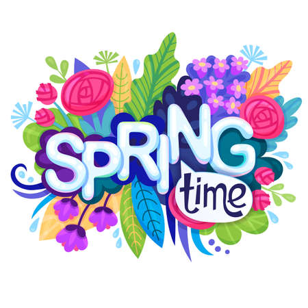 inscription spring time on background with colorful flowers rh 123rf com spring time clipart pictures sprint time clip art