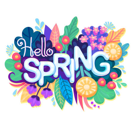 Inscription Hello Spring on background with Colorful Flowers, Leaves and Grass. Floral Banner for Springtime Graphic Design. Blossoming Bouquet. Vector.